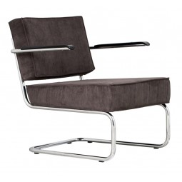 Krzesło Lounge RIDGE RIB ARM szare