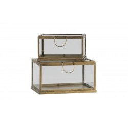 Zestaw 2 pudełek metal/szkło
